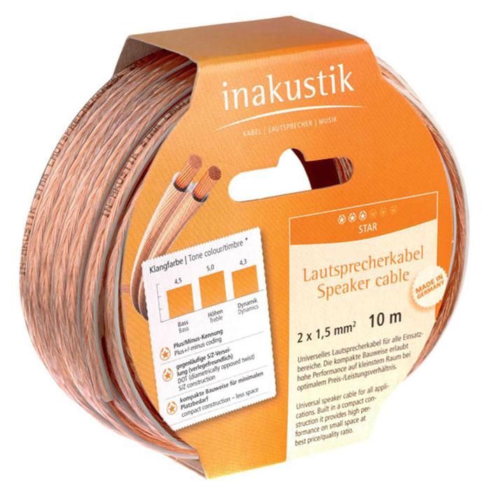 Inakustik Star Cable Reels 2x1.5 mm2 акустический кабель, 10 м (003021010)4001980088Акустический кабель на катушке Inakustik Star Cable Reels используется для подключения акустических систем и обладает превосходными электрическими характеристиками.