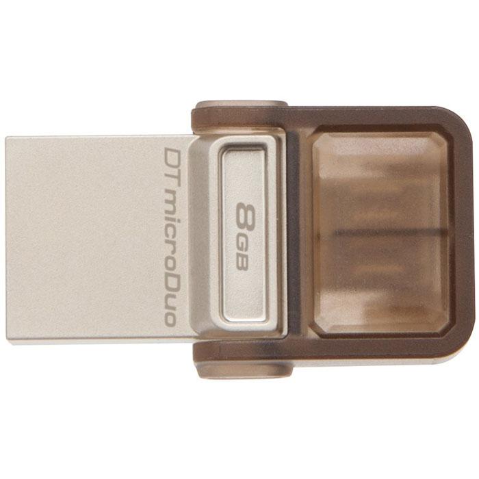 Kingston DataTraveler microDuo 8GB USB/microUSB-накопительDTDUO/8GBНакопитель DataTraveler microDuo компании Kingston имеет компактный форм-фактор и предоставляет дополнительное пространство для хранения данных для планшетов и смартфонов, поддерживающих функцию USB OTG(On-The-Go). Стандарт USB OTG позволяет напрямую подключать мобильные устройства к поддерживаемым USB-устройствам. DataTraveler microDuo емкостью до 64ГБ позволяет использовать разъемы microUSB, часто применяемые для зарядки устройств, в качестве портов расширения. DTDUO идеально подходит для хранения больших файлов во время путешествий, обеспечивая функцию автоматического конфигурирования в планшетах и смартфонах без разъемов microSD; при этом цена на гигабайт у накопителя ниже, чем у дополнительных встроенных накопителей для мобильных устройств. В смартфонах и планшетах с возможностью записи HD-видео и съемки качественных фотографий свободное пространство заканчивается очень быстро. DTDUO позволяет перемещать файлы, фотографии, видео и другие данные для выгрузки...