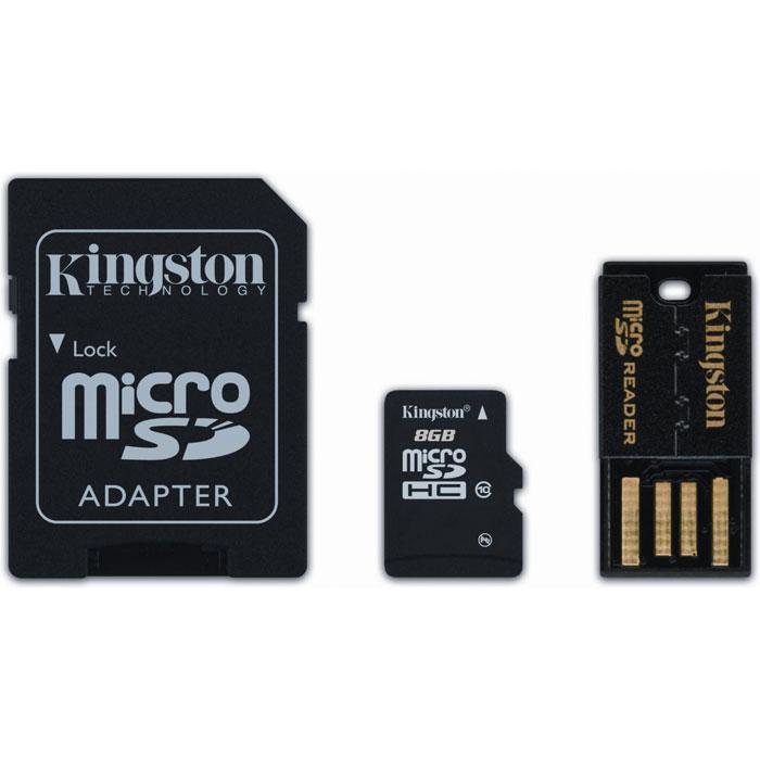 Kingston Mobility Kit microSDHC Class 10 8GB (MBLY10G2/8GB) карта памяти + адаптер