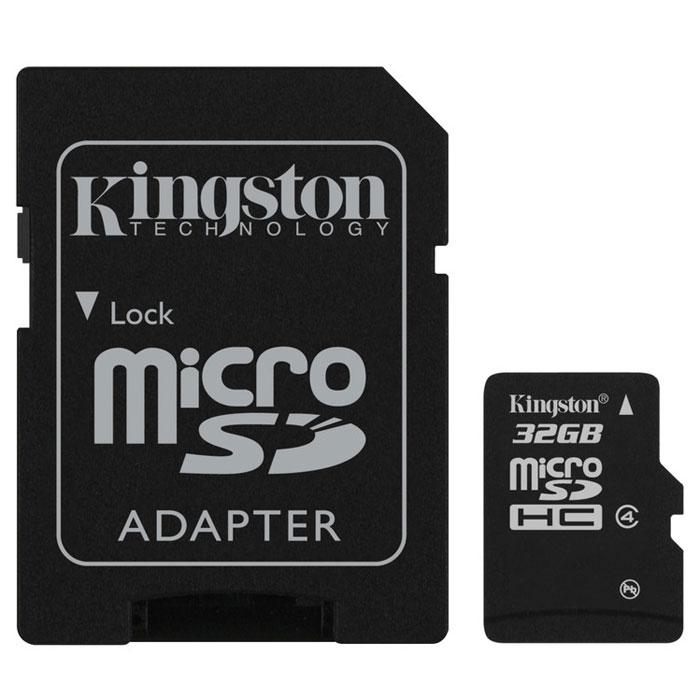 Kingston microSDHC Class 4 32GB карта памяти с адаптеромSDC4/32GBКарты microSDHC позволяют хранить большие объемы музыки, видео, изображений, игр в современных мобильных устройствах. Флэш-карты microSDHC относятся к 4 скоростному классу, т.е. максимальная скорость передачи данных составляет 4 Мб/с. По размерам карты microSDHC совпадают с картами microSD, но совместимы только с устройствами, поддерживающими стандарт microSDHC в соответствии со спецификацией SD Specification Version 2.0. Карты microSDHC можно использовать с адаптером как полноразмерные карты SDHC. Внимание: перед оформлением заказа, убедитесь в поддержке Вашим электронным устройством карт памяти данного объема.
