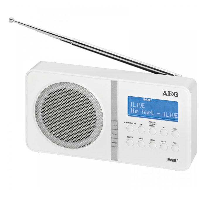 AEG DAB 4138, White радиоприемник портативныйDAB 4138 whiteAEG DAB 4138 - это портативный настольный радиоприёмник с диапазоном FM и DAB. Данная модель имеет стильный дизайн. Высокочувствительный приём обеспечивает работу устройства практически в любых местностях. 20 радиостанций и удобное управление позволяют легко настроиться на любимую станцию. Уверенный прием цифровых радиостанций 2 строчный LCD-дисплей с отображением дополнительной информации 20 каналов для FM