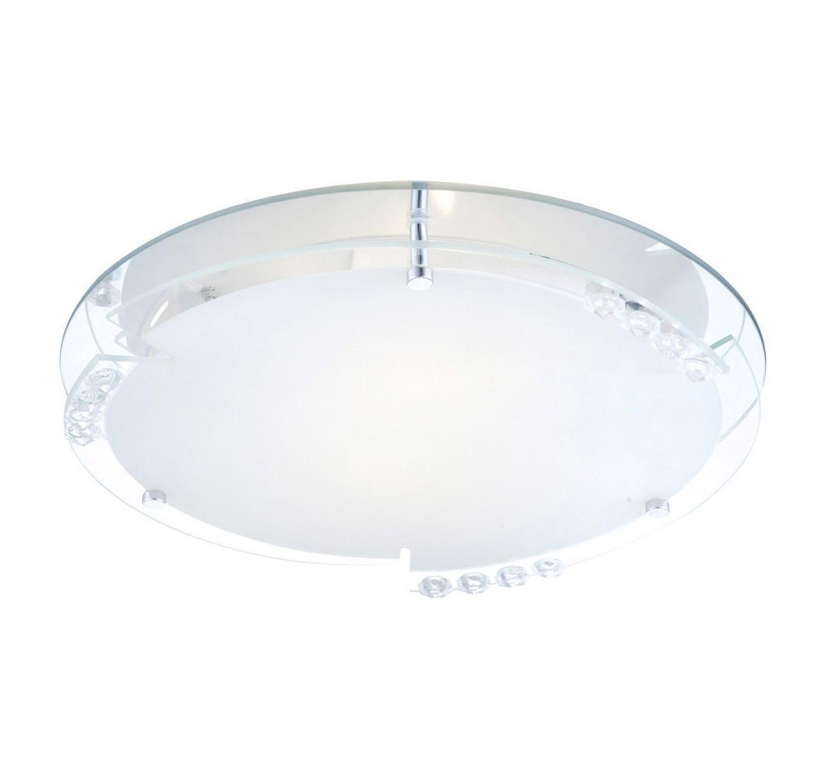 48073-2 Потолочный светильник ARMENA48073-2Globo Светильник настенно-потолочный 48073-2. Оригинальность конструкции плафона данной модели выделяет ее из множества подобных и сразу же привлекает внимание. Круглый плафон с прозрачными украшениями имеет составной тип конструкции, которая позволяет расположить его как на стене, так и на потолке. Матовое стекло немного приглушает свет, делая его приятным для глаз. Лампы со стандартным цоколем легко найти в продаже и заменить при возникновении такой необходимости. Электроприбор отлично подходит для освещения определенной зоны, и выполняет свою главную функцию,- украсить жилое пространство. Материал: Арматура: Металл/Плафон: Стекло Цвет: Арматура: Серебристый/Плафон: Белый Размер: 32х32х10