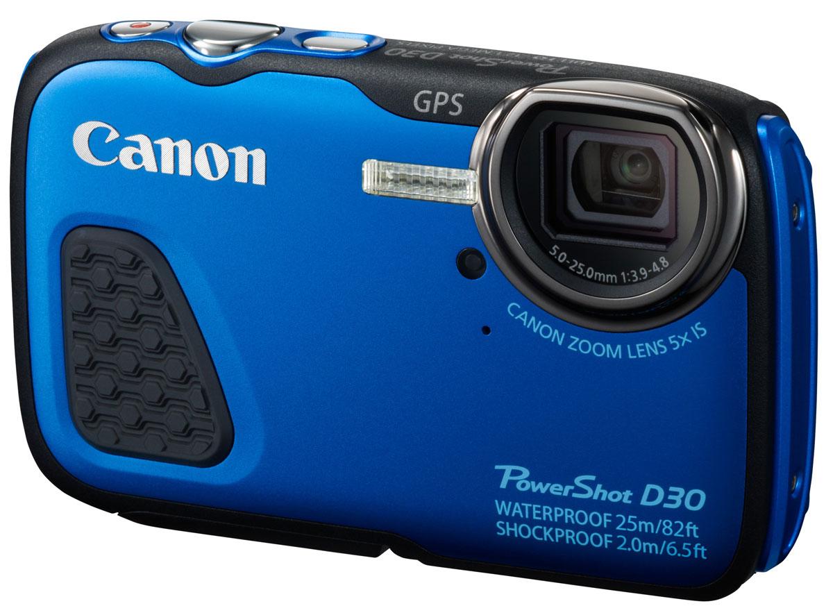 Canon PowerShot D30, Blue цифровая фотокамера9337B002Оцените высокое качество подводной съемки на глубине до 25 м с прочной и надежной камерой Canon PowerShot D30. Система HS гарантирует великолепные снимки, а встроенный GPS-модуль отслеживает маршрут ваших приключений. Отличное качество подводной съемки: Эта компактная и прочная цифровая камера обеспечивает непревзойденное качество подводной съемки на глубине до 25 м. Предназначенная для использования в сложных условиях, камера PowerShot D30 также отличается ударопрочностью (выдерживает падения с высоты до 2 м), морозоустойчивостью (может использоваться при -10 °C) и полной пыленепроницаемостью. Поэтому она является идеальным решением для любителей самых экстремальных видов спорта, от сноубординга до погружений с аквалангом. Кроме того, она защищена от детей и выдержит неаккуратное обращение с их стороны во время семейного отдыха. Великолепные снимки под водой: Создавайте прекрасные снимки при любом освещении с помощью системы HS,...