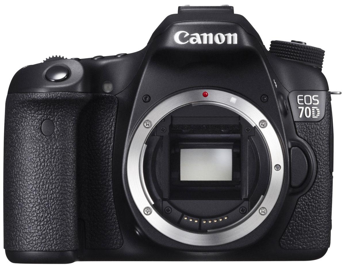 Canon EOS 70D Body цифровая зеркальная фотокамера8469B004Сохраняйте важные моменты жизни, делая потрясающие снимки или видеозаписи в формате Full HD с помощью высокопроизводительной камеры Canon EOS 70D со скоростью съемки 7 кадров/с при полном разрешении, усовершенствованной 19-точечной системой автофокусировки и уникальной технологией двухпиксельного CMOS-автофокуса компании Canon. CMOS-датчик с 20,2 млн. пикселей и процессор DIGIC 5+: Высокопроизводительная камера EOS 70D оснащена CMOS-датчиком APS-C с 20,2 млн. пикселей и мощным процессором обработки изображения DIGIC 5+, что позволяет получать безупречно четкие 14-битные изображения и передавать мельчайшие детали. Естественность цветопередачи дополнена плавностью переходов полутонов. Поймайте момент: Получать превосходные фотографии быстро перемещающихся объектов (как, например, в спорте или дикой природе) теперь просто благодаря использованию серийной съемки со скоростью 7 кадров/с при полном разрешении и высокопроизводительной...