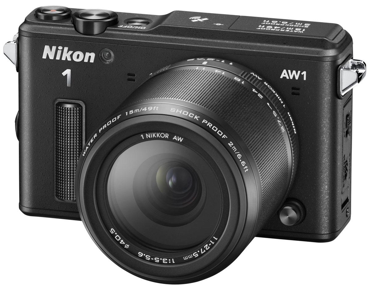 Nikon 1 AW1 Kit 11–27.5, Black цифровая фотокамераVVA201K001Водонепроницаемая, ударопрочная, морозостойкая и удивительно быстрая фотокамера Nikon 1 AW1 никогда вас не подведет. Куда бы вы ни отправились - на горнолыжный курорт, в путешествие на яхте или на захватывающее сафари, эта системная фотокамера всегда будет защищена от повреждений и воздействия неблагоприятных погодных условий. Минималистичный дизайн фотокамеры отлично впишется и в роскошную обстановку городских мероприятий. Система EXPEED 3A со сдвоенным процессором нового поколения от компании Nikon обрабатывает данные с невероятной скоростью, благодаря чему достигается невероятная производительность в любой ситуации. Система легко справляется со многими задачами фотокамеры, требующими интенсивной работы процессора, например высокоскоростной непрерывной съемкой или одновременной записью фотографий и видеороликов. С помощью функции Съемка лучшего момента вы всегда сможете получить лучший снимок. В режиме Замедленный просмотр фотокамера снимает до...