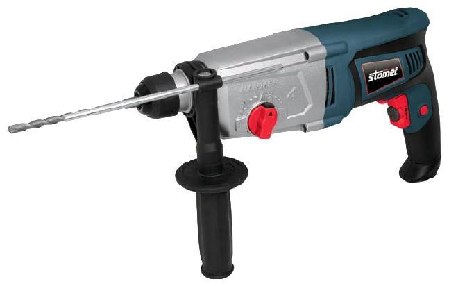 Перфоратор электрический Stomer SRD-850-KSRD-850-KДомашний помощник Производитель ручного инструмента Stomer создал модель SRD-850-K для использования как в быту, так и на производстве. Перфоратор предназначен для создания отверстий в металле, в дереве и других твердых материалах. В режиме «сверление с ударом» или «долбление» инструмент способен продолбить отверстие в бетоне, кирпиче, керамике. А если переключиться в режим «завинчивание» инструмент превращается в обычный шуруповерт, которым можно вкручивать саморезы. Отличная производительность При относительно не сложных видах работ, а также при эксплуатации инструмента на высоте вам необходим сравнительно легкий и производительный перфоратор. Именно таким является SRD-850-K от производителя Stomer. Весом 3.60 кг, он снабжен мощным двигателем 800 Вт и длинным сетевым кабелем 3.60 м. Модель имеет функцию удара с энергией 2.5 Дж, частотой 4500 уд/мин., что делает его отличным «убийцей» бетона и кирпича. Долбить или сверлить...