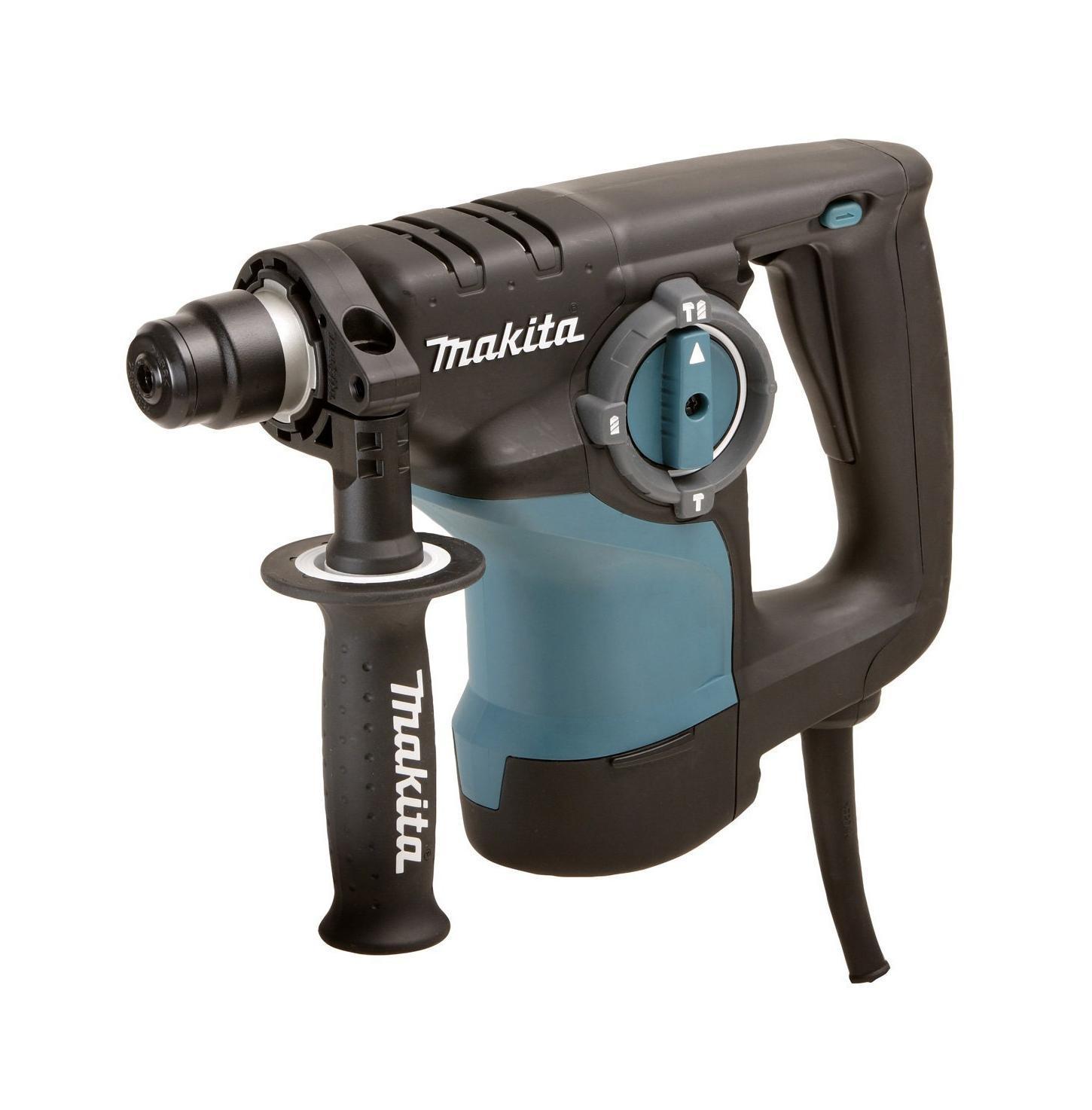 Перфоратор Makita HR2810, SDS+HR 2810Makita HR 2810 - трехрежимный профессиональный перфоратор. Рассчитан на сверление прочных материалов. Три рабочих режима предназначены для обычного и ударного сверления бетона, камня и кирпича, а также для безударного сверления керамики, дерева, металла и пластмассы. Трехрежимный компактный перфоратор Makita HR 2810 имеет отличительную особенность - двигатель расположен вертикально, что особенно удобно при потолочных работах. Электрический перфоратор Makita HR 2810 совершает удар при помощи электропневматического механизма. Силовое давление на боек, приводящий в движение бур, оказывает поршень, на который производится воздействие сжатым воздухом. Если устройство работает на холостом ходу - удар не производится. Так как скорость вращения регулируется, это дает возможность выбора оптимального режима сверления. Инструмент имеет отличные рабочие характеристики благодаря усовершенствованной конструкции реверса и возможности установки долота в 40 угловых положениях - это...
