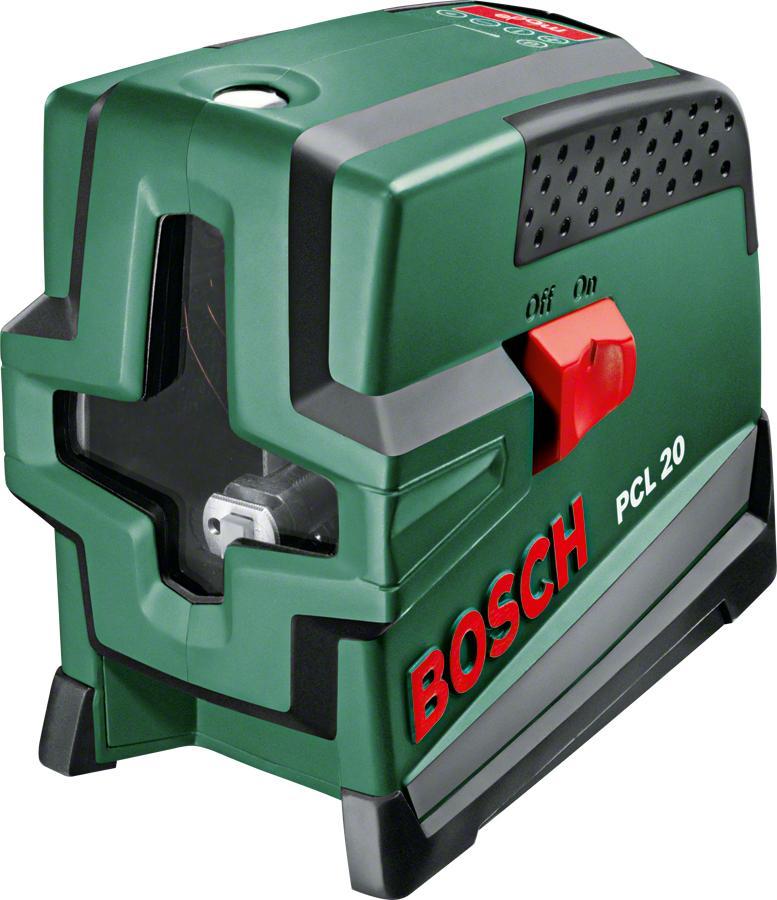 Лазерный уровень/нивелир Bosch PCL 20 (0603008220)Pcl 20Лазерный нивелир Bosch PCL 20 (0603008220) применяется для построения горизонтальных, вертикальных, наклонных и отвесных линий. Применяется при ремонтных работах. При включении на стену проецируются горизонтальные и вертикальные лучи. Цвет луча: красный. Направление лучей: горизонталь/вертикаль/лазерный крест/отвес/диагональ. Тип выравнивания: автоматическое. Угол самовыравнивания: ± 4°. Время измерения: 4 с. Класс лазера: 2. Длина волны: 635 нм. Источники питания: 4 x 1,5 В LR6 (AA). Резьба под штатив: 1/4.