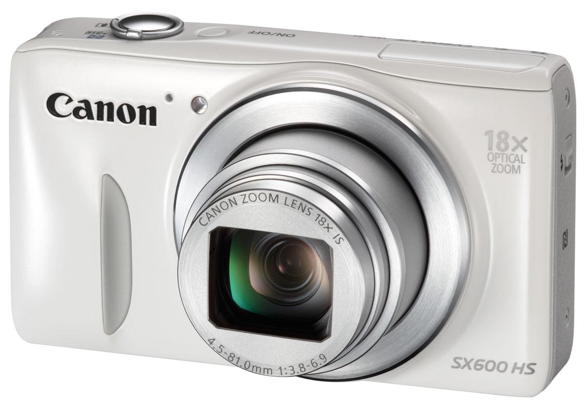 Canon PowerShot SX600 HS, White цифровая фотокамера9341B002Камера Canon PowerShot SX600 HS с 18-кратным зумом в изящном компактном корпусе обладает всеми функциями, которые понадобятся вам для получения высококачественных фотографий и видео, а Wi-Fi позволит легко опубликовать их в Интернете. Станьте ближе: 18-кратный оптический зум и 36-кратный при использовании функции ZoomPlus позволяют приблизиться к действию и помогают снять даже отдаленные объекты с высокой детализацией. Сверхширокоугольный объектив 25 мм позволит поместить в кадр больше объектов, что идеально подходит для съемки больших групп людей или прекрасных пейзажей. Изображения, которые стоит хранить: Красивые фотографии настолько же ценны , насколько и запечатленные на них моменты — система HS создана для того, чтобы обеспечить достойное качество фото, даже при низкой освещенности. Благодаря улучшенному процессору DIGIC 4+ и 16-мегапиксельному CMOS-датчику с подсветкой система HS гарантирует четкие фотографии с высокой...