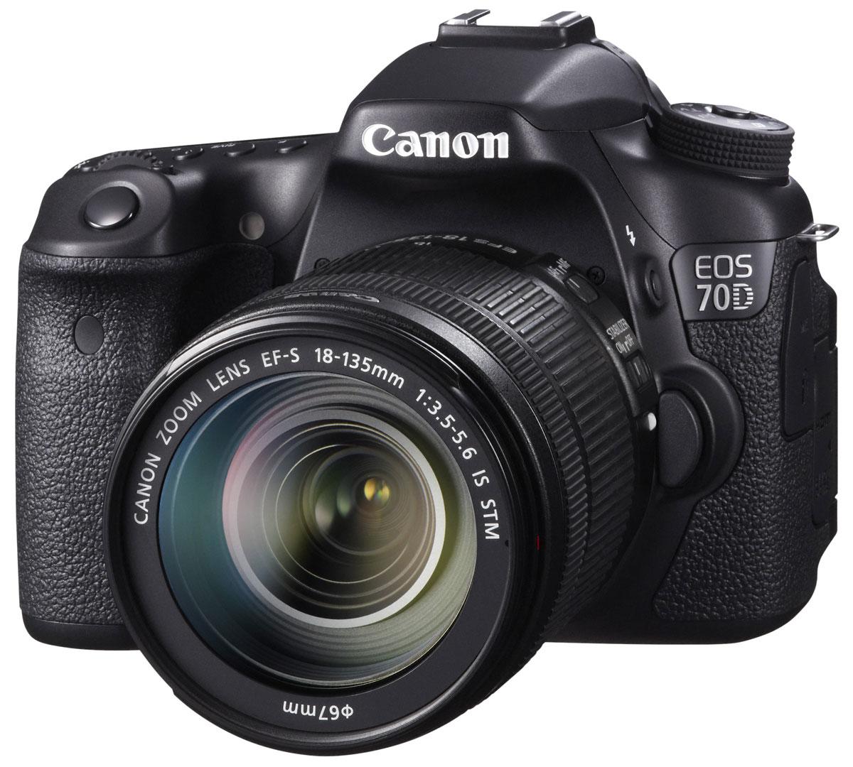 Canon EOS 70D Kit 18-135 IS STM цифровая зеркальная фотокамера8469B018Сохраняйте важные моменты жизни, делая потрясающие снимки или видеозаписи в формате Full HD с помощью высокопроизводительной камеры Canon EOS 70D со скоростью съемки 7 кадров/с при полном разрешении, усовершенствованной 19-точечной системой автофокусировки и уникальной технологией двухпиксельного CMOS-автофокуса компании Canon. CMOS-датчик с 20,2 млн. пикселей и процессор DIGIC 5+: Высокопроизводительная камера EOS 70D оснащена CMOS-датчиком APS-C с 20,2 млн. пикселей и мощным процессором обработки изображения DIGIC 5+, что позволяет получать безупречно четкие 14-битные изображения и передавать мельчайшие детали. Естественность цветопередачи дополнена плавностью переходов полутонов. Поймайте момент: Получать превосходные фотографии быстро перемещающихся объектов (как, например, в спорте или дикой природе) теперь просто благодаря использованию серийной съемки со скоростью 7 кадров/с при полном разрешении и высокопроизводительной...