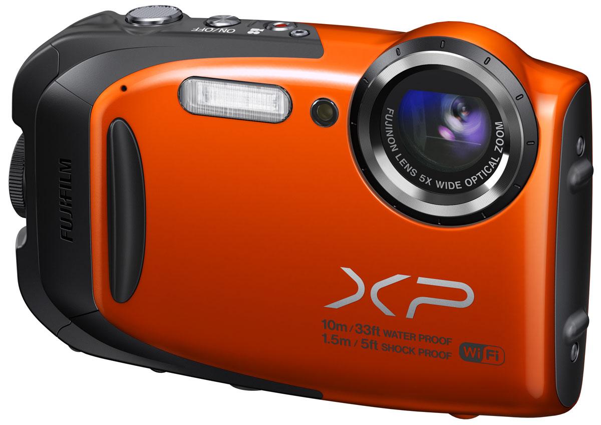 Fujifilm FinePix XP70, Orange цифровая фотокамера16409648Всепогодная семейная фотокамера Fujifilm FinePix XP70 с режимом высокоскоростной серийной съемки и Full HD видео. Защита от четырех угроз и антибликовый ЖК-экран: Берите камеру XP70 куда угодно: она влагонепроницаемая, ударопрочная, морозостойкая и пыленепроницаемая. Изображение на ее ЖК-экране остается четким даже при ярком солнце. Режим экшн-камеры: Режим экшн-камеры идеально подходит для записи видеороликов в высоком разрешении на спортивных мероприятиях. В режиме экшн-камеры ЖК-экран автоматически выключается для экономии энергии, когда начинается запись видео. Видео может записываться, пока вы фиксируете камеру на теле или спортивном инвентаре. С помощью специальной кнопки непрерывной съемки вы можете мгновенно переключить камеру в режим серийной съемки, чтобы не пропустить момент, который вам нужен. Съемка высококачественных фотографий в высоком разрешении: Камера XP70 оснащена 16-мегапиксельной матрицей CMOS с...