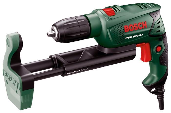 Bosch PSB 500 RA ударная дрель (0603127021)PSB 500 RAУдарная дрель Bosch PSB 500 RA 0.603.127.021 - двухрежимный электроинструмент с двигателем мощностью 500 Вт, сконструированный для сверления различных материалов с ударом и без. Также возможно использование данной модели в качестве шуруповерта.