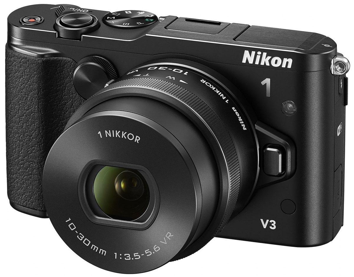Nikon 1 V3 Kit 10-30mm VR, Black цифровая фотокамераVVA231K001Nikon 1 V3 - это портативная системная фотокамера, обладающая производительностью профессионального класса. Удивительное качество изображения: Большая КМОП-матрица с разрешением 18,4 млн пикселей фотокамеры Nikon 1 V3 позволяет делать снимки и записывать видео HD с невероятной степенью детализации. В конструкции этой быстрой КМОП-матрицы формата СХ не используется оптический низкочастотный фильтр, поэтому чистые и резкие изображения получаются даже при съемке текстур с мельчайшими деталями. Широкий диапазон значений чувствительности ISO: Благодаря диапазону чувствительности 160–12 800 единиц ISO модель V3 создает четкие изображения даже при слабой освещенности. Функция автоматической регулировки чувствительности в диапазоне 160–6400 единиц ISO позволяет фотокамере самой устанавливать оптимальное значение этого параметра. Для съемки без вспышки в условиях слабого освещения чувствительность можно увеличить до 12 800 единиц ISO. Две ...