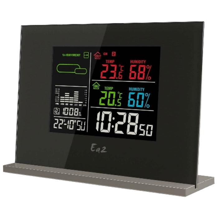 Ea2 EN209 погодная станцияEN209Погодная станция Ea2 EN209 с цветным дисплеем отображает различные климатические показатели: влажность, температуру, давление, тенденцию изменения атмосферного давления. С ее помощью можно получить прогноз погоды на ближайшие 12 часов. Встроенная память запоминает минимальные и максимальные показатели. Станция также оснащена удобным будильником и часами. Обычный календарь, дата, день недели Анимированный прогноз погоды (Ясно, Переменная облачность, Облачно, Дождь, Снег) Память макс/мин температуры (комнатной и наружной) Память макс/мин влажности (комнатной и наружной) Столбиковая диаграмма изменений атмосферного давления за прошедшие 12 часов Дисплей с подсветкой Выбор типа отображения времени: 12/24 Выбор единицы измерения температуры: градусы по Цельсию или Фаренгейту Индикатор низкого уровня заряда батарей Возможность крепления на стене Беспроводной датчик Частота передачи сигнала: 433.92 МГц Радиус передачи данных: 30 м...