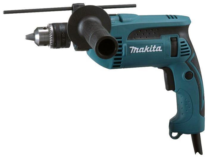 Дрель ударная Makita HP1640HP1640Ударная дрель Makita HP1640 при небольшом весе оснащена мощным двигателем 6,0 ампер. Дрель имеет большой диаметр сверления, а так же может работать в двух режимах - сверления и сверления с ударом. Кроме того, дрель имеет функцию точной регулировки скорости, а конструкция на шаровой опоре продлит срок службы инструмента. Ударная дрель Makita HP1640 практична и удобна в использовании. Работу с дрелью облегчает эргономичный дизайн с рядным расположением и большой выключатель для двух пальцев. Удобная прорезиненная ручка с вращением на 360° обеспечивает больший комфорт, лучший контроль инструмента и снижает утомляемость при работе. Тип патрона: ключевой, Ударный механизм: кулачковый.