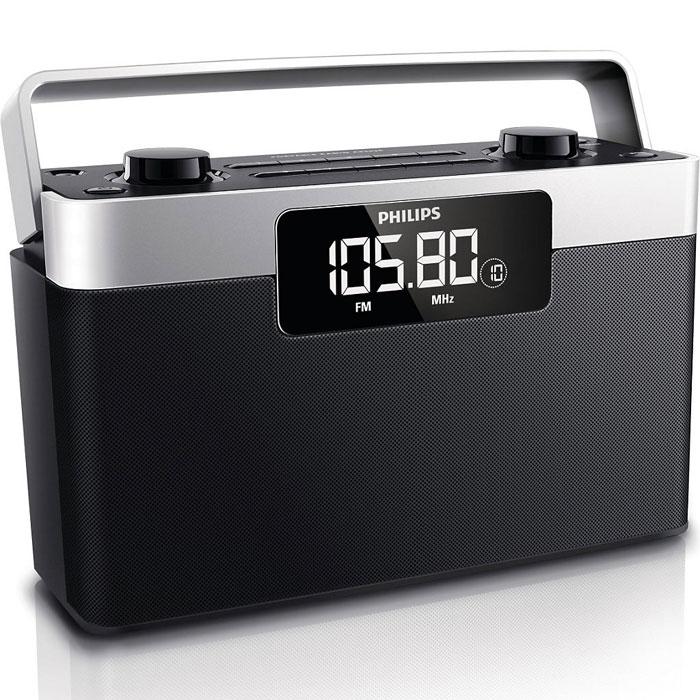 Philips AE2430/12 радиоприемникAE2430/12Наслаждайтесь прослушиванием любимых FM-/СВ-станций, одним прикосновением к портативному радиоприемнику Philips AE2430/12. Цифровой тюнер и 20 станций, выбираемых одним нажатием, делают это радио удобным в использовании. Большой ЖК- дисплей с подсветкой обеспечивает комфортный просмотр при слабом освещении. Встроенные часы показывают точное время. При выключении радио для дополнительного удобства включается дисплей часов. Радиоприемник может работать и от батарей, и от электросети. Если в зоне доступности нет электророзетки или если вы не хотите лишний раз загромождать пространство проводами, просто используйте батареи. А когда необходимо длительное и стабильное питание, подключите устройство к розетке.