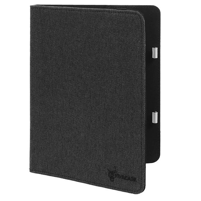 Vivacase Caviar текстильный чехол-обложка для Samsung Galaxy Tab 4 10.1, Black (VSS-STCV10-bl)VSS-STCV10-blЧехол Viva Caviar для Samsung Galaxy Tab 4 10.1 - прекрасный выбор для тех, что заботится не только о сохранности своего устройства, но и о стиле. Он изготовлен из качественного текстиля, а мягкая подкладка приятна на ощупь и предотвращает появление царапин на корпусе и дисплее. Крепление HVS (пластиковые уголки) позволяет надежно зафиксировать электронное устройство. Также чехол имеет возможность установки планшета под двумя разными углами для удобного набора текста или просмотра видео. В закрытом положении чехол удерживает широкая резинка черного цвета.