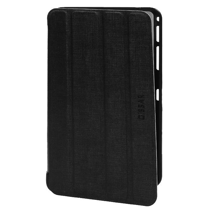 Gissar Metallic чехол для Samsung Galaxy Tab 4 7.0, Black74210Чехол Gissar Metallic для Samsung Galaxy Tab 4 7.0 надежно защищает ваш планшетный компьютер от механических повреждений и царапин. Благодаря продуманной конструкции все необходимые разъемы и кнопки планшета остаются в свободном доступе. Гибкая крышка, состоящая из 4 сегментов, превращает чехол в удобную подставку для устройства, которая обеспечивает пользователю комфорт во время чтения с экрана или просмотра фильмов. Чехол изготовлен из качественной PU кожи с металлическим оттенком.