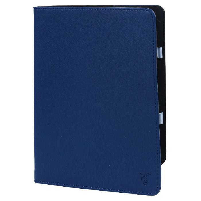 Vivacase Challenge кожаный чехол-обложка для Samsung Galaxy Tab 4 10.1, Blue (VSS-STCH10-blue)VSS-STCH10-blueЧехол Viva Challenge для Samsung Galaxy Tab 4 10.1 - прекрасный выбор для тех, что заботится не только о сохранности своего устройства, но и о стиле. Он изготовлен из качественной искусственной кожи, а мягкая подкладка приятна на ощупь и предотвращает появление царапин на корпусе и дисплее. Крепление HVS (пластиковые уголки) позволяет надежно зафиксировать электронное устройство. Также чехол имеет возможность установки планшета под двумя разными углами для удобного набора текста или просмотра видео. В закрытом положении чехол удерживает широкая резинка черного цвета.
