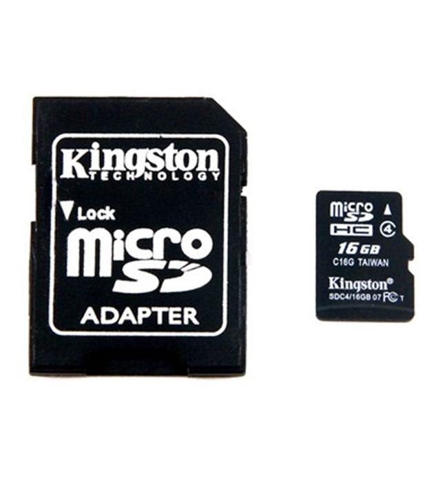 Kingston microSDHC Class 4 16GB карта памяти с адаптером