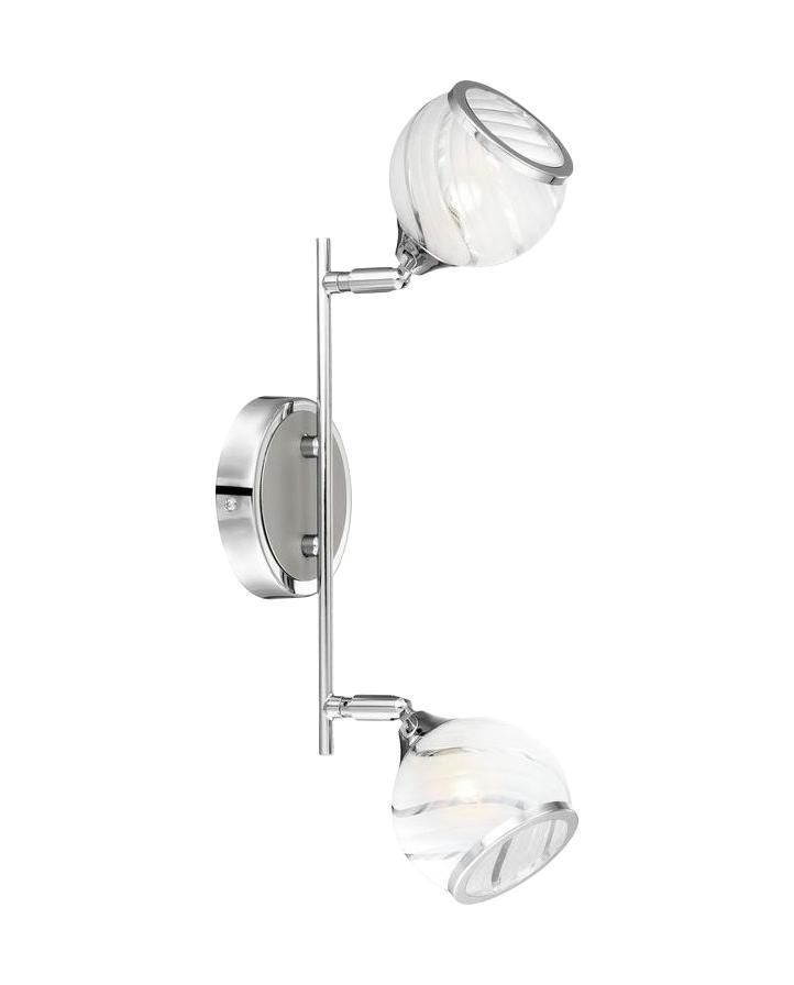 68-2 Настенно-потолочный светильник AILA68-2Споты GLOBO 68-2 в стиле модерн выглядят дорого и солидно, гармонично впишутся в интерьер спальни. Металлическое основание цвета никеля, плафон изготовлен из стекла. Точечный светильник с максимальной мощностью 66W осветит комнату, площадью 5 кв.м.