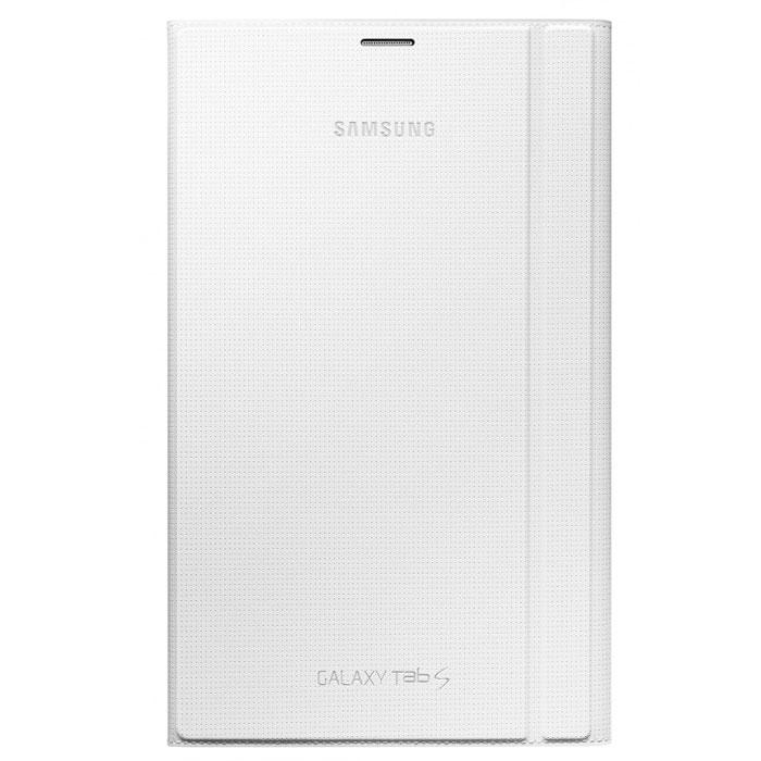Samsung EF-BT700 Book Cover чехол для Galaxy Tab S 8.4, WhiteEF-BT700BWEGRUЧехол с жесткой задней крышкой и флипом для защиты дисплея Samsung EF-BT700 Book Cover для Galaxy Tab S 8.4. Обложку можно сложить, в таком случае чехол может выступать в качестве подставки, причем двух типов - одна поможет при просмотре видео, вторая при наборе текста. Подобные чехлы сделаны из надежных и приятных материалов, практически не увеличивают размер устройства. Изящная защита для вашего Samsung Galaxy Tab.