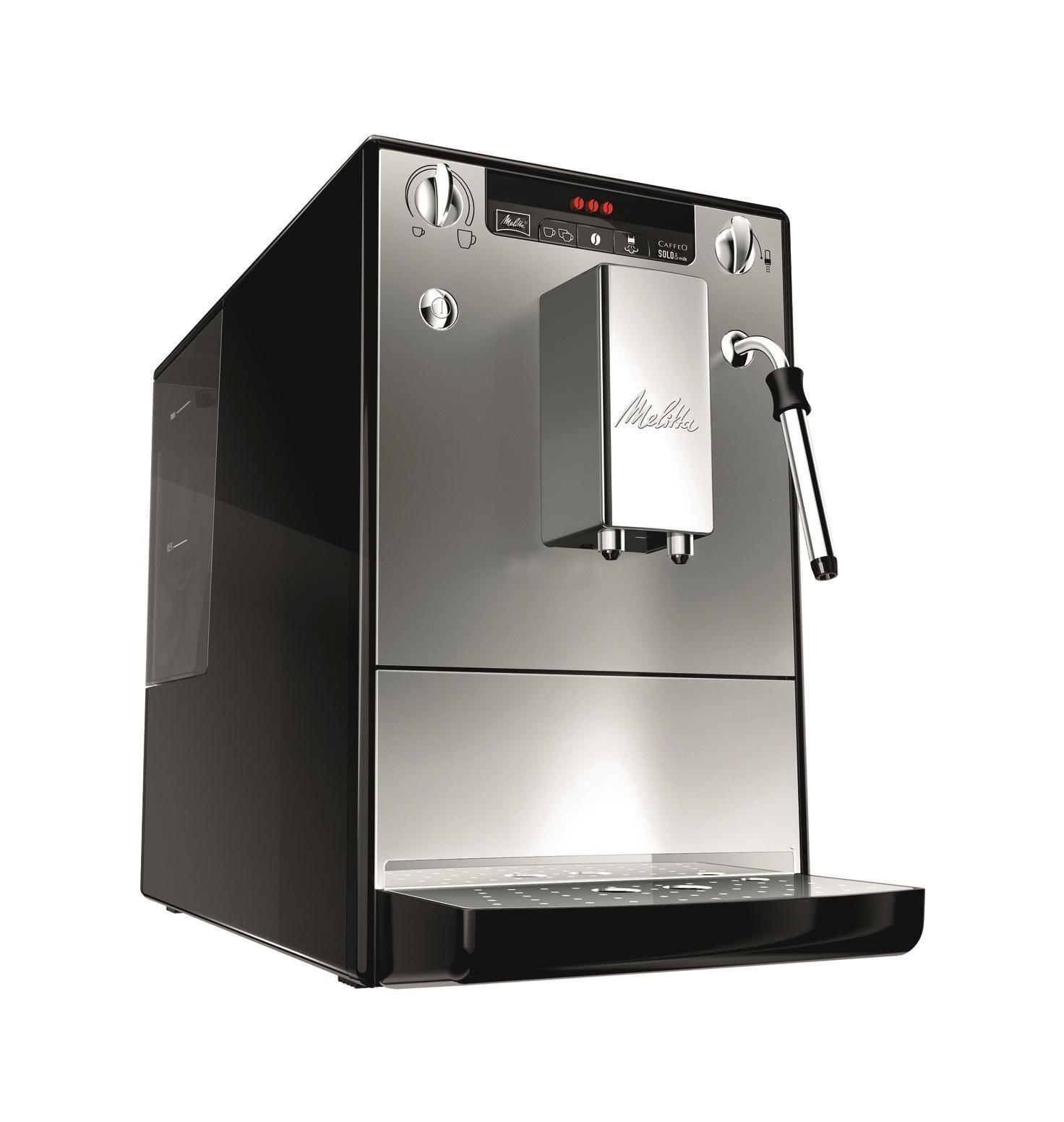 Melitta Caffeo Solo&milk E953-102, Silver Black кофемашинаCaffeo Solo&milk Silver BlackАвтоматическая кофемашина Caffeo Solo&milk компании Melitta для приготовления кофейных напитков из зернового или молотого кофе. Функциональна, обладает повышенной работоспособностью. Оснащена капучинатором Panarello, который дает порцию горячей воды, подогревает и вспенивает молоко. Съемный заварной механизм имеет функцию предварительного смачивания, благодаря чему раскрывается полностью вкус и аромат кофе. Строгость и компактность Melitta E 953 является одной из самых маленьких кофемашин в мире. И тем не менее, этого вполне достаточно для высоких технологий Melitta и чистого наслаждения кофе. Индивидуальные настройки приготовления кофе Наслаждение без компромиссов: вы выбираете крепость и температуру своего кофе. Кроме того, одним поворотом регулятора вы также программируете количество кофе в соответствии с размером чашки. Специальная система предварительного заваривания кофе Для того, чтобы вы получили максимальное удовольствие,...