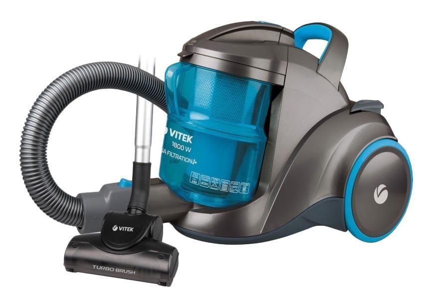 Vitek VT-1835(B) пылесосVitek VT-1835(B) пылесосПылесос без мешка для сбора пыли VT-1835 является отличным вариантом для влажной или сухой уборки в доме. Пылесос оснащен аквафильтром, поэтому попадающая в устройство пыль оседает в воде. Вы можете использовать пылесос в режиме всасывания жидкости. При этом не стоит переживать, что контейнер переполнится водой. Ведь при заполнении контейнера пылесос попросту отключится. Вам предоставляется возможность использования устройства и в режиме сухой уборки. При этом вы можете установить турбощетку для сбора волос, а также шерсти животных с любых напольных покрытий. Пылесос дополняется простым управлением и автоматической смоткой шнура, что в разы облегчит использование техники.