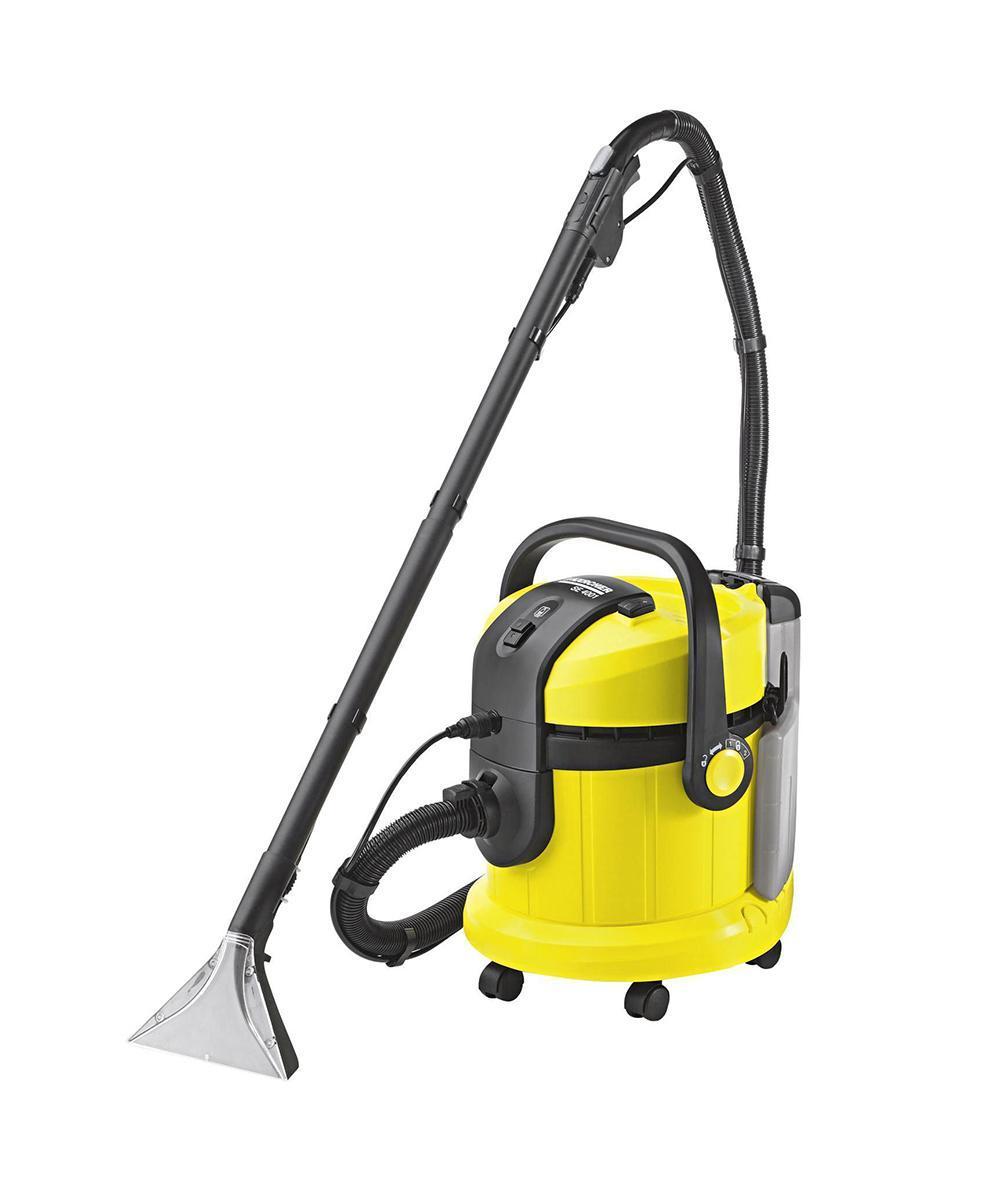 Моющий пылесос Karcher SE 4001 1.081-130.01.081-130.0Несмотря на ежедневный уход, ковровое покрытие пола со временем становится все более невзрачным. В местах, где больше всего ходят, образуются некрасивые дорожки, которые не удаляются при обычной чистке пылесосом. Поэтому тем, кто хочет сэкономить на дорогостоящей чистке силами специалистов, лучше всего использовать моющие пылесосы Karcher. Так называемый пылесос 3 в 1 или аппарат для распыления с экстракцией SE 4001 выполняет чистку ковра с проникновением глубоко в поры. К тому же, он прекрасно подходит для чистки твердых полов, например, из камня, кафеля и линолеума. По сравнению с традиционной чисткой аппарат Karcher SE4001 имеет очень убедительные преимущества: здесь используется исключительно чистая вода из бака для чистой воды. Грязная вода собирается отдельно. В отличие от чистки с помощью губки и ведра, грязная вода не соприкасается с чистой. Таким образом, грязь не только распределяется, но и эффективно удаляется. SE 4001 гарантирует оптимальную глубокую чистку и...