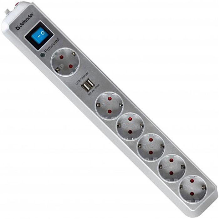 Defender DFS 501 сетевой фильтр на 6 розеток99051Сетевой фильтр DFS 501 защищает электронную технику от перегрузок по току, короткого замыкания, ВЧ и импульсных помех. Предназначен для подключения аудио- и видеотехники, компьютера и периферии. Максимальная защита от больших скачков напряжения благодаря газовому разряднику. Два USB-порта для удобной зарядки MP3-плееров и других гаджетов без использования ПК. Токовая защита надежно защищает подключенные устройства от возможных бросков тока и выхода из строя в момент зарядки. 6 розеток, одна из которых предназначена для подключения больших адаптеров. Защитные шторки от детей. Сетевой фильтр безопасно использовать в квартире с маленькими детьми. Корпус сделан из ударостойкого негорючего пластика ABS. Высокий показатель максимальной рассеиваемой энергии. Высокие показатели подавления ВЧ-помех. Индикатор состояния защиты и подключения к сети. Номинальное напряжение: 220 В / 50-60 Гц Максимальная рассеиваемая энергия: 525 Дж Защита цепи: фаза-ноль, фаза-земля,...