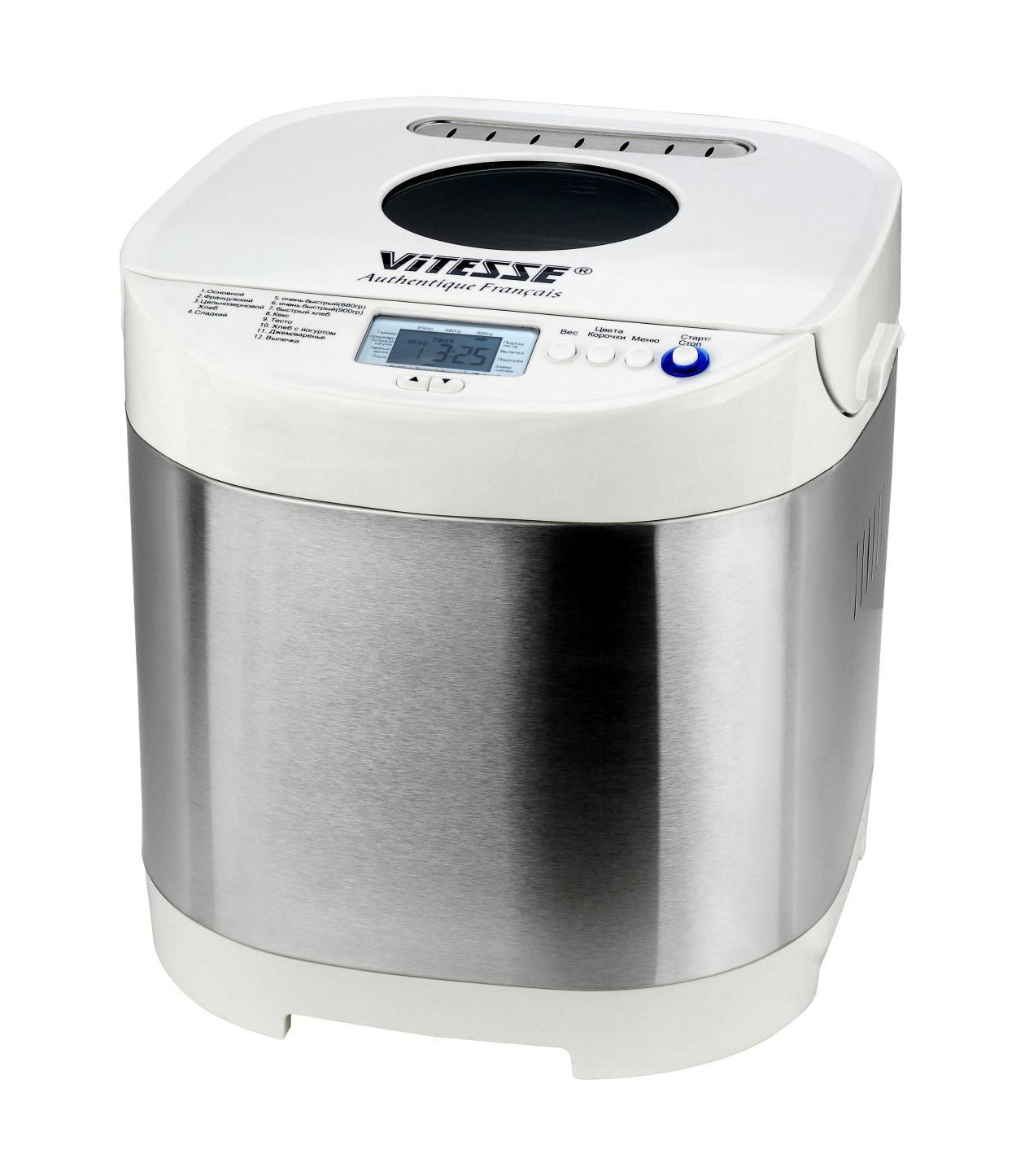 Vitesse VS-427VS-427Хлебопечка Vitesse VS-427 Свежий ароматный хлеб любят все. Но не всегда удается приобрести такой хлеб в магазине или в частной хлебопекарне. Зато можно купить хлебопечку и выпекать хлеб самостоятельно, с учетом своих пожеланий и потребностей. Скажем сразу, цены на эти устройства зависят от их продвинутости — количества программ и дополнительных функций.