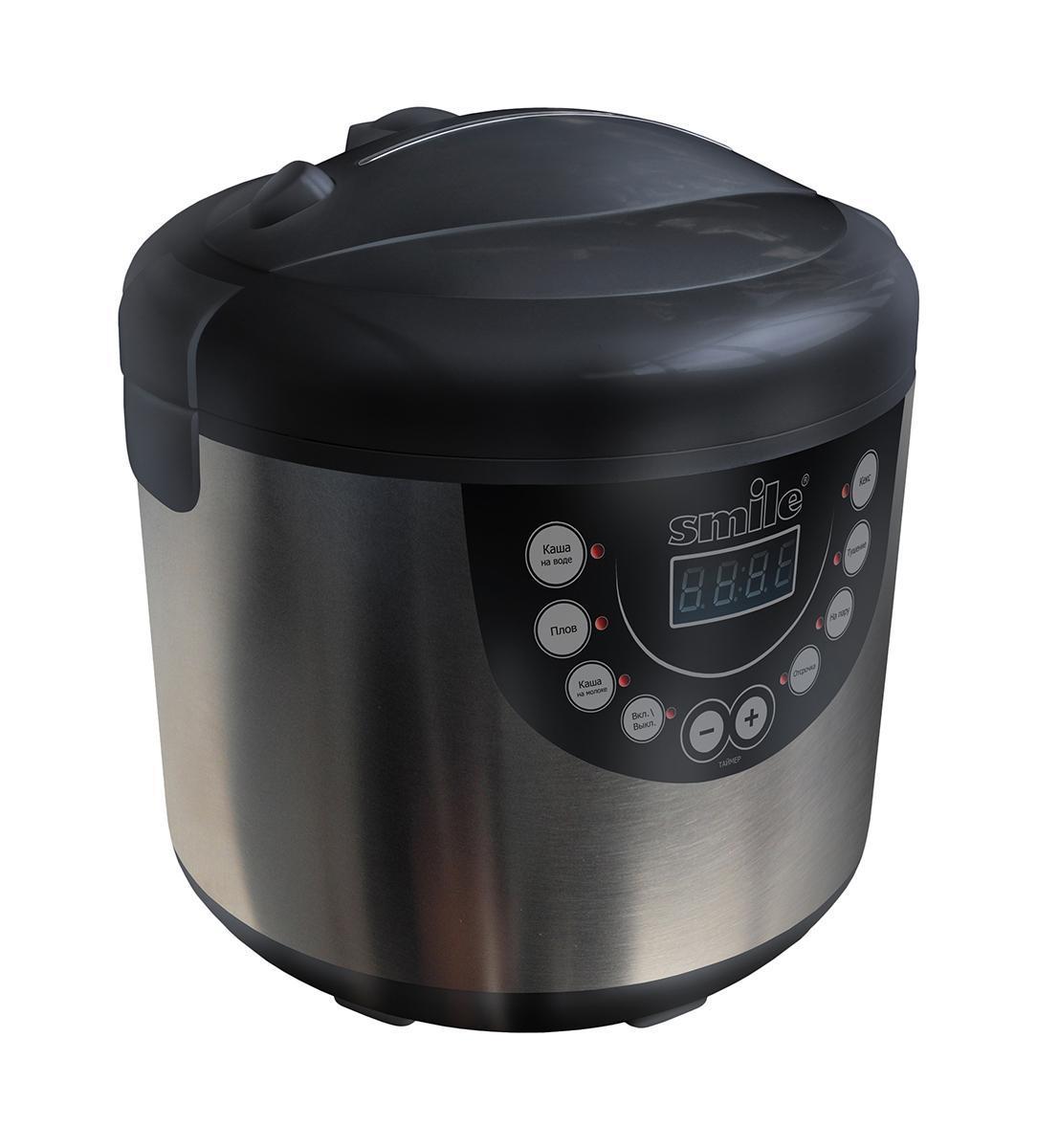 Smile MPC 1141 мультиваркаMPC 1141Мультиварка Smile MPC 1141 - автономный полифункциональный прибор для простого и удобного приготовления пищи для всей семьи. В мультиварке запрограммировано шесть фиксированных режимов приготовления пищи, ручной режим дает возможность приготовления разных блюд: каши, плов, молочные блюда, выпечку, также есть функции тушения и приготовления на пару. С помощью функции отсрочки приготовления вы можете задать любое время начала приготовления. Автоматический режим подогрева, который включается после того, как приготовление закончено, позволит сохранить блюдо горячим в течение 17 часов после приготовления. Режимы приготовления блюд: каши, тушение, выпечка, плов, режим пароварки, помогут приготовить все разнообразие блюд. В мультиварке так же можно приготовить супы, холодец и даже тушенку. Ручной режим даст возможность готовить по собственным рецептам и создаст возможность для кулинарного творчества. Дисплей поможет следить за программой приготовления, отражая стадии на котором...