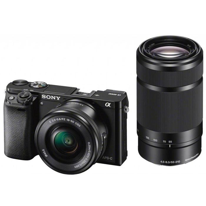 Sony Alpha A6000Y Kit 16-50 mm + 55-210 mm, Black цифровая фотокамераILCE6000YB.CECSony Alpha A6000 - фотокамера со сменными объективами объединяет в себе сильные стороны фазового и контрастного автофокуса. Технология 4D FOCUS обеспечивает непревзойденную работу системы автофокуса в четырех измерениях: широкая зона охвата (2 измерения по горизонтали и вертикали), скорость работы автофокуса (3-е измерение, глубина) и следящий автофокус с упреждением (4-е измерение, время). Система автофокуса камеры A6000 работает быстрее, чем на цифровых зеркальных камерах, а потому вы не упустите ни единого момента. Теперь вы также можете подобрать цвет камеры под свой индивидуальный стиль. Скорость 0,06 секунды гарантирует получение идеальных снимков в любых условиях: на семейных событиях, спортивных мероприятиях или на природе. Качественная матрица Секрет очень прост — чем крупнее матрица, тем крупнее формат изображения. Камера ?6000 превосходит многие модели в своей категории: матрица типа APS-C в 1,6 раза крупнее матриц типа 4/3 и в...