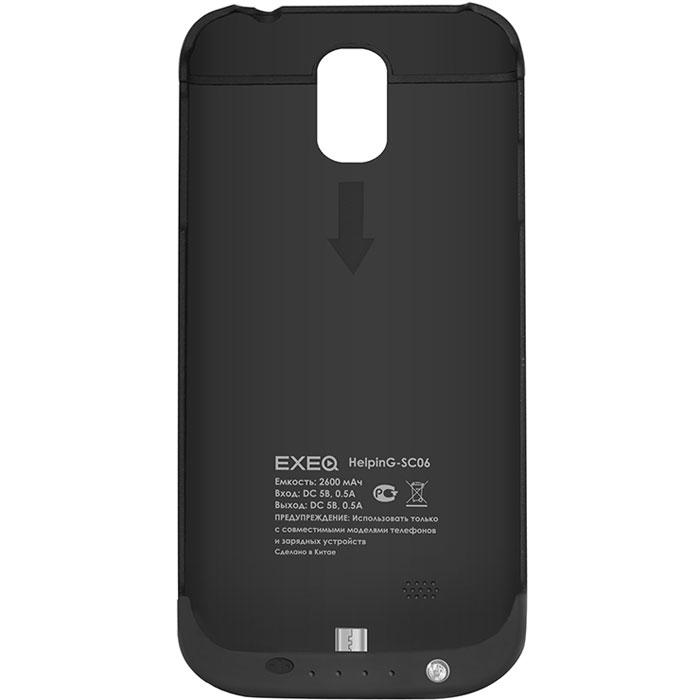 EXEQ HelpinG-SC06 чехол-аккумулятор для Samsung Galaxy S4, Black (2600 мАч, клип-кейс)HelpinG-SC06 BLExeq HelpinG-SС06 – универсальный аксессуар, благодаря которому ваш смартфон не только будет надежно защищен, но обеспечен своевременной подзарядкой! Exeq HelpinG-SС06 выполнен из прочного прорезиненного пластика, который надежно защитит смартфон от ударов, царапин и загрязнений. Встроенный аккумулятор обеспечит подзарядку батареи смартфона в самые нужные моменты его использования. В качестве приятного дополнения Exeq HelpinG-SС06 имеет откидывающуюся подставку. Специальная конструкция чехла с выдвижной верхней частью позволит удобно и надежно поместить телефон в чехол, а при необходимости легко и быстро достать телефон из чехла. Хотя извлекать телефон из надежного Exeq HelpinG-SС06 вам вряд ли понадобится – заряжать телефон можно непосредственно в чехле, подключив к нему зарядное устройство телефона и нажав кнопку питания на чехле. Если кнопку питания не нажимать, то будет происходить зарядка чехла-аккумулятора. Аналогично происходит и подключение телефона к компьютеру –...