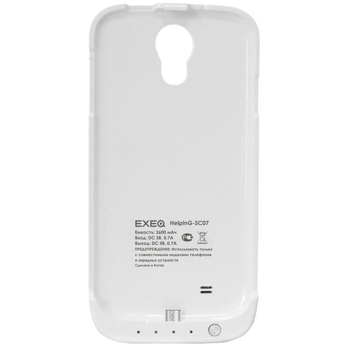 EXEQ HelpinG-SC07 чехол-аккумулятор для Samsung Galaxy S4, White (2600 мАч, клип-кейс)HelpinG-SC07 WHExeq HelpinG-SС07 – стильный и надежный аксессуар для Samsung Galaxy S4. Компактные размеры, элегантный дизайн и прочный материал корпуса позволят Exeq HelpinG-SС07 не только надежно защитит смартфон от ударов, грязи и царапин, но придадут телефону стильный внешний вид! Встроенный аккумулятор обеспечит смартфон своевременной подзарядкой в самые нужные моменты его использования. Специальная металлическая выдвижная подставка позволит удобно расположить телефон при просмотре видео, общении по Skype, чтении книг. Заряжать телефон можно не извлекая его из чехла, просто подключив адаптер смартфона к чехлу-аккумулятору и нажав кнопку питания на чехле (если кнопку не нажимать, то будет происходить зарядка аккумулятора чехла). Также Exeq HelpinG-SС07 обеспечивает идеальную передачу данных при подключении смартфона к компьютеру или другому электронному устройству.