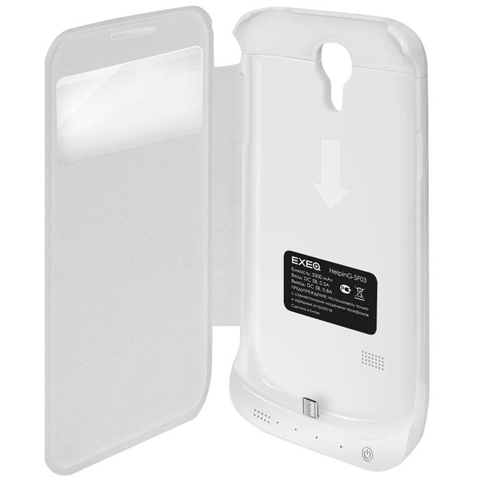 EXEQ HelpinG-SF03 чехол-аккумулятор для Samsung Galaxy S4, White (3300 мАч, Smart cover, флип-кейс)HelpinG-SF03 WHExeq HelpinG-SF03 оборудован встроенным аккумулятором, обеспечивая своевременную подзарядку, чехол, тем самым, способен обеспечить и большую работоспособность Вашему смартфону. Стильный дизайн Exeq HelpinG-SF03 придется по вкусу многим владельцам Samsung Galaxy S4, а его конструкция обеспечит надежную защиту смартфону даже во время самого активного использования. В частности для защиты дисплея чехол оснащен специальной откидной крышкой Smart-cover – она не только защитит дисплей от загрязнений, пыли и царапин, но позволит регулировать работу экрана. Так при открытии крышки чехла экран смартфона автоматически будет включаться, при закрытии крышки чехла экран автоматически будет выключаться. Еще в конструкции чехла предусмотрена откидывающаяся подставка, которая позволит удобно разместить телефон при просмотре видео или чтении электронных книг. Зарядка чехла-аккумулятора Exeq HelpinG-SF03 происходит от зарядного устройства телефона, причем заряжать ...