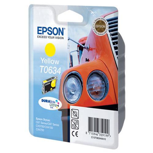 Epson T0634 (C13T06344A10), Yellow картридж для C67/C87/CX3700/CX4100/CX4700C13T06344A10Картридж Epson T063 с цветными чернилами для струйной печати.