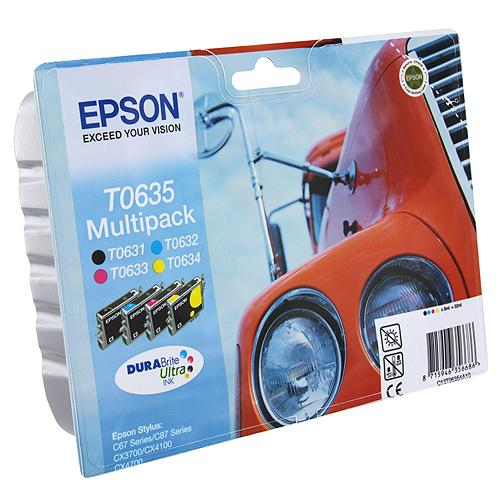 Epson T0635 Multipack (C13T06354A10) комплект картриджей для C67/C87/CX3700/CX4100/CX4700C13T06354A10Экономичный набор картриджей Epson с цветными чернилами для струйной печати. В комплект входят 4 картриджа с черными, голубыми, пурпурными и желтыми чернилами.