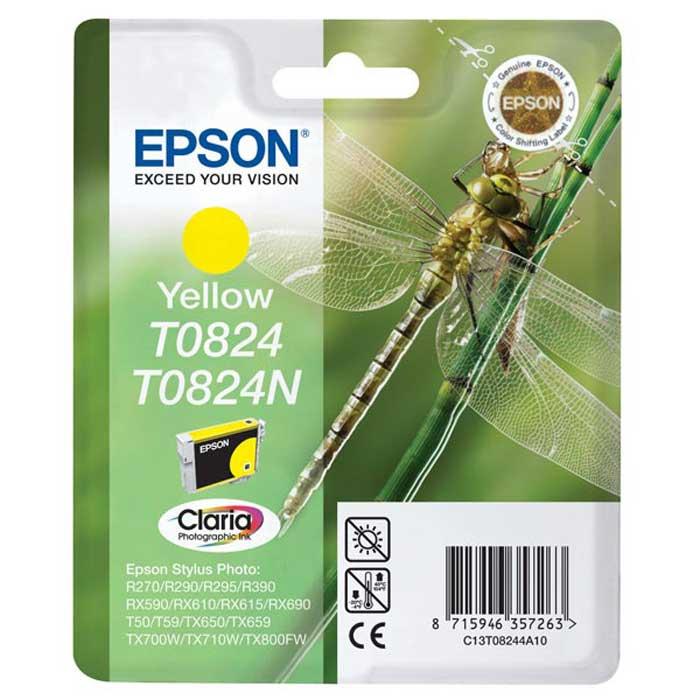Epson T0824/T0824N (C13T08244A10/C13T11244A10), Yellow картридж для R270/R290/RX590/T50/TX650C13T11244A10Картридж Epson C13T08244A10/C13T11244A10 с чернилами для струйных фотопринтеров и МФУ Epson.