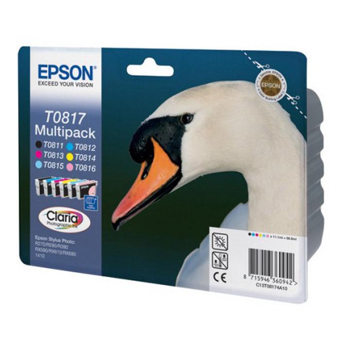 Epson T0817 Multipack (C13T11174A10) комплект картриджей для R270/RX590/T50/TX650/1410C13T11174A10Экономичный набор из 6 чернильных картриджей Epson повышенной емкости.