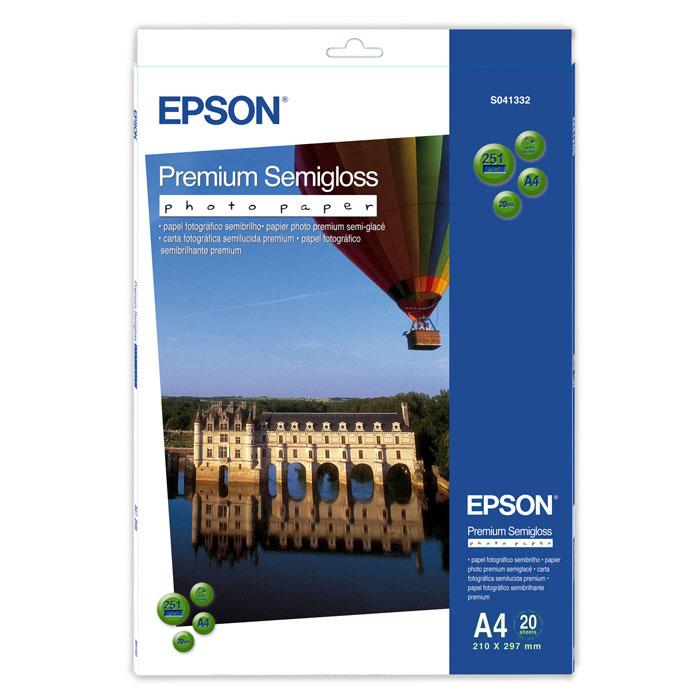 Epson Premium Semiglossy 251/A4/20л, полуглянцевая C13S041332C13S041332Высококачественный материал Epson Premium Semigloss Photo на бумажной основе с полуглянцевым полимерным покрытием. Предназначен для печати изображений профессионального качества - фотографий, интерьерной графики. Яркость: 92% Прозрачность: 96%
