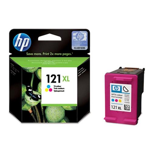 HP CC644HE (121XL) трехцветный струйный картриджCC644HEКартридж струйный HP 121XL повышенной емкости с цветными чернилами для печати ярких цветных документов.