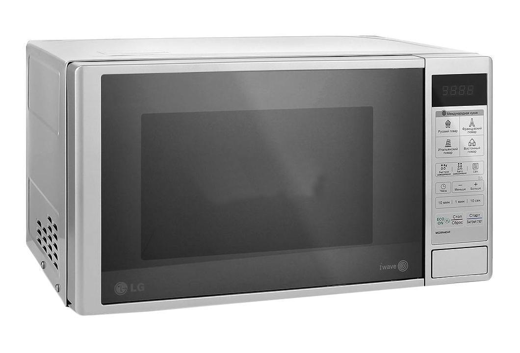 LG MS20R44DAR СВЧ-печьMS-20R44DARСтрогий классический дизайн микроволновой печи LG MS20R44DAR позволит ей органично влиться в общий дизайн вашей кухни, а большое количество полезных функций, таких как автоматическое приготовление и автоматическое размораживание, сделает ее незаменимой помощницей в приготовлении вкусных блюд. Автопрограммы приготовления Международная кухня 32 уникальные программы, позволяющие легко и без усилий приготовить блюда по традиционным рецептам французской, итальянской, восточной и русской кухни. Достаточно лишь заложить необходимые продукты в камеру и выбрать подходящее меню, а печь сама установит оптимальный режим приготовления блюда для придания ему насыщенного и неповторимого вкуса. Легкоочищаемое покрытие LG EasyСlean Специальное легкоочищаемое покрытие LG EasyСlean внутренней камеры печи очищается от жира значительно быстрее и легче, по сравнению с обычным покрытием. Более того, компания LG предоставляет 10 лет гарантии на это покрытие. ...