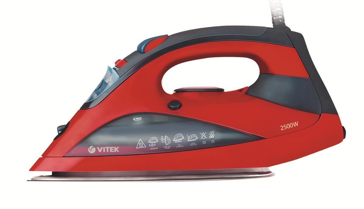 Vitek VT-1213, Red утюгVT-1213(R)Утюг VT-1213 покорит вас необычным красным цветом корпуса - яркий прибор привнесет изюминку в ваш интерьер. Высокая мощность позволит вам значительно сократить время глажения любых вещей – утюг нагревается практически моментально. Для деликатных тканей вы можете воспользоваться функцией отпаривания. При этом анодированное гладкое покрытие подошвы не навредит даже тонким тканям! При работе с утюгом вы смело может использовать водопроводную воду, поскольку защита от накипи, а также система самоочистки не позволят утюгу быстро выйти из строя!