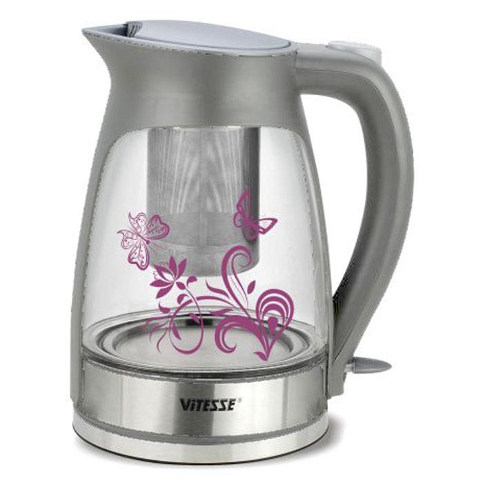 Vitesse VS-154, Silver электрочайникVS-154Чайник ViTESSE подсвечивается изнутри и превращает чаепитие в настоящий праздник! Удивительное зрелище подсвечивающейся воды гармонично дополняет термоиндикатор в виде цветочного рисунка на корпусе прибора. Кроме того, термоиндикатор подает сигнал о том, что вода в чайнике нагрелась или остыла, меняя цвет. С чайником ViTESSE очень легко собирать за одним столом всех Ваших родных и друзей! Объем модели – 1,7 л позволит кипятить воду в значительных количествах и готовить ароматный крепкий чай!
