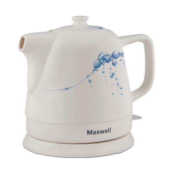 Maxwell MW-1046 B электрочайникMW-1046 BЧайник 1046MW(B) позволяет вскипятить воду в считанные минуты. Любители чая по достоинству оценят корпус чайника из долговечной керамики. Еще одна важная деталь – корпус чайника поворачивается на 360 градусов. Кроме того, чайник оснащен многоуровневой защитой: он автоматически отключается при закипании или при недостаточном количестве воды. Необходимо также отметить современный элегантный дизайн чайника. Он будет уместен на кухне, выполненной в любом стилевом решении. Необычно раскрашенный корпус чайника обязательно привлечет внимание, и интерьер заиграет новыми красками.