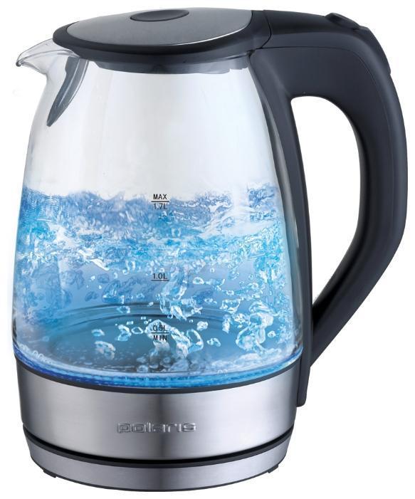 Polaris PWK 1729CGL электрочайникPWK 1729CGLКорпус чайника Polaris PWK 1729CGL выполнен из высококачественного термостойкого стекла, сохраняющего природные свойства воды. Благодаря максимальной мощности 2200 Вт, чайник Polaris PWK 1729CGL за считанные минуты вскипятит 1,7 литра воды. Прозрачный корпус с двусторонней шкалой контроля уровня и внутренней подсветкой позволяет следить за тем, как нагревается вода. Чайник соединён с базой центральным контактом и легко вращается на 360°C градусов. Крышка чайника открывается легким нажатием. Съемный фильтр легко снимается, его можно мыть вручную или в посудомоечной машине. Нагревательный элемент чайника Polaris PWK 1729CGL встроен в плоское дно и надежно защищен стальной пластиной, что делает его чистку максимально удобной. Среди характеристик безопасности использования чайника стоит отметить автоматический и ручной выключатель, а также защиту от перегрева. - Мощность: 1850-2200 Вт. - Емкость: 1,7 л. - Корпус из высококачественной нержавеющей стали. -...