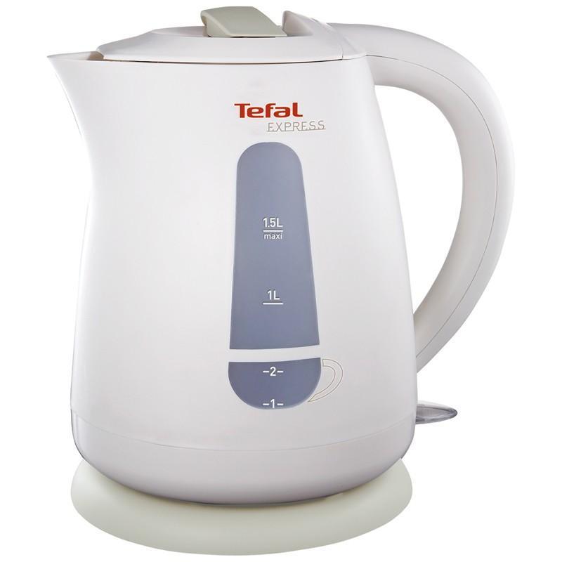 Tefal KO299 13E электрочайникKO 299 Express PlasticЧайник Tefal KO 299 13E — электрический кухонный прибор от французского производителя. Корпус чайника изготовлен из термостойкого пластика. Совершенная технология кипячения повысила эффективность прибора — двухступенчатая индикация воды дает возможность кипятить как весь объем (1,5 литра), так и одну чашку воды. Tefal KO 299 13E работает на поворотном основании, элемент нагрева скрыт, не имеет контакта с водой, что обеспечивает простой уход внутренней поверхности сосуда. Благодаря фильтрационной системе, частицы накипи и взвеси не попадают в емкости. Работу прибора сопровождает световая индикация, при полном нагреве срабатывает механизм автовыключения.