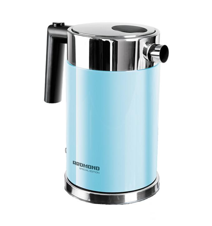 Redmond RK-M119, Blue электрочайникRK-M 119 голубойRedmond RK-M - это современный электрический чайник, который отличается простотой использования и непревзойденной надежностью. Он имеет индикатор уровня воды, который позволяет контролировать его объем. Тип нагревательного элемента - закрытая спираль. Благодаря этому значительно сокращается образование накипи, что продлевает срок службы чайника, а так же обеспечивает его легкую очистку. Пользоваться данным электрочайником абсолютно безопасно. Блокировка крышки препятствует открытию работающего чайника.