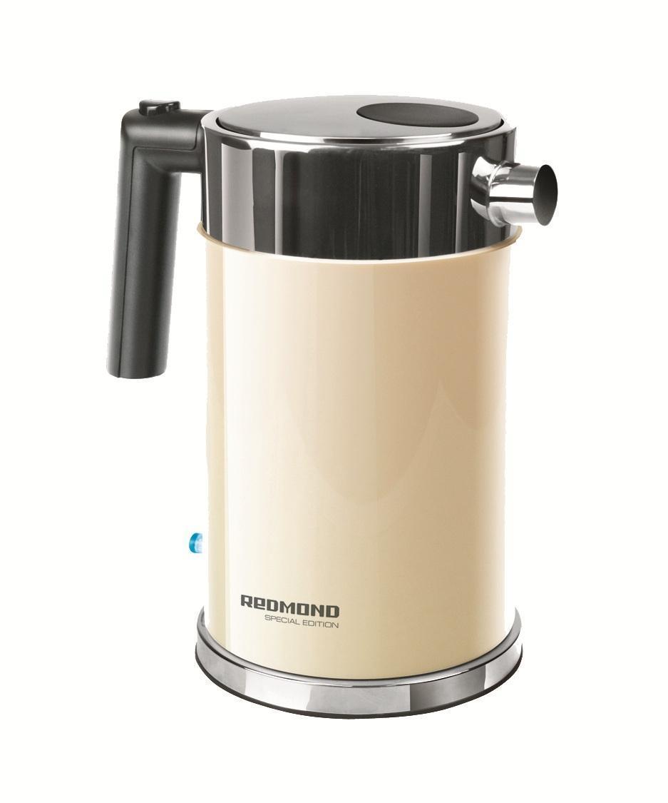 Redmond RK-M119, Beige электрочайникRK-M 119 бежевыйRedmond RK-M - это современный электрический чайник, который отличается простотой использования и непревзойденной надежностью. Он имеет индикатор уровня воды, который позволяет контролировать его объем. Тип нагревательного элемента - закрытая спираль. Благодаря этому значительно сокращается образование накипи, что продлевает срок службы чайника, а так же обеспечивает его легкую очистку. Пользоваться данным электрочайником абсолютно безопасно. Блокировка крышки препятствует открытию работающего чайника.